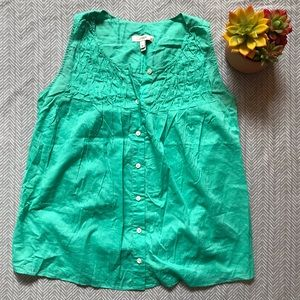 J. Crew Teal Button Up Sleeveless Blouse